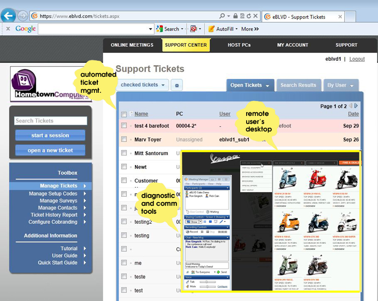 Click to view eBLVD Support Center and HelpDesk 7.5 screenshot